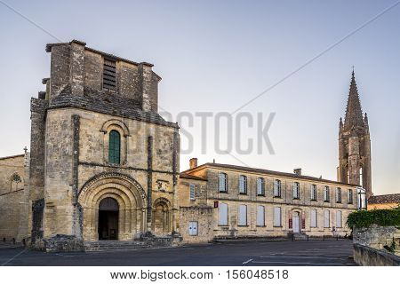 SAINT EMILION,FRANCE - SEPTEMBER 1,2016 - Church and Bell tower of Saint Emilion. Saint Emilion is a commune in the Gironde department in southwestern France.