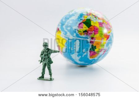 dictate mini plastic green Soldier toy and Globes  Show the World War