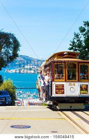 San Francisco Cable Car Alcatraz Hyde Peak Drop V