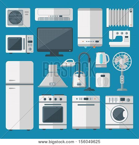 Set of kitchen appliances flat icons with washing machine stove fridge iron microwave. Home equipment kitchen appliances vector. Kitchen appliances electric domestic steel design.