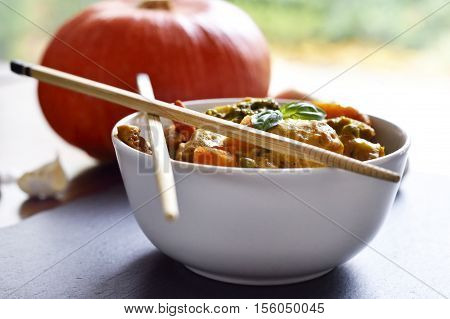 Thai Curry, garlic, basil, chopsticks, Asian Cuisine, Asian Food, pumpkin, orange pumpkin, autumn, vegetable, orange, food, Season, gourd, leaf, healthy eating, Organic, backgrounds, october, snack, multi colored, Still Life, bowl, white bowl, close-up, s