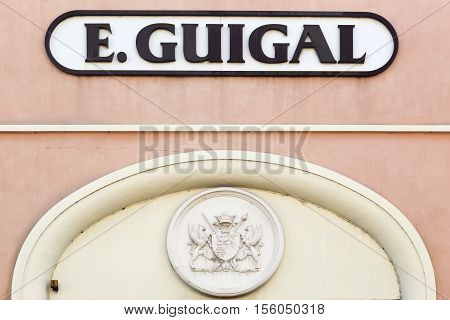 Lyon, France - October 22, 2016: Guigal is a winery and negociant business situated in Ampuis in the northern part of the Rhone region in France