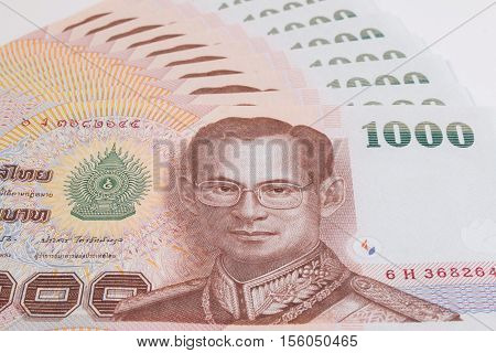 Close Up Of Thai Banknote, Thai Bath Banknote With The Image Of Thai King Bhumibol Adulyadej. Thai B