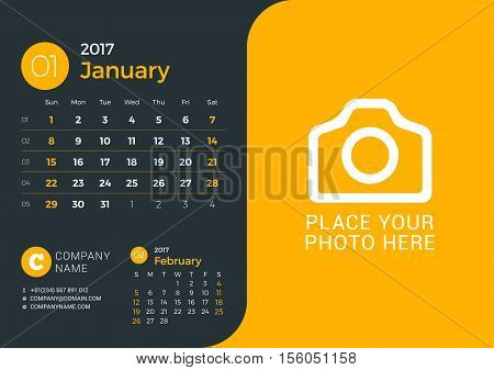 Calendar Template For 2017 Year. Vector Print Template With Place For Photo And Company Information