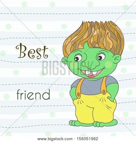 Cute green troll dragon in cartoon style. Sample comic vector illustration.