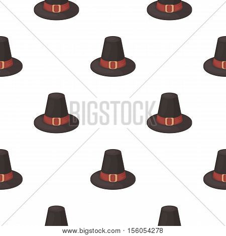 Pilgrim hat icon in cartoon style isolated on white background. Canadian Thanksgiving Day pattern symbol vector illustration.