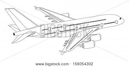 Vector Commercial Jet Aeroplane Flying in isolated background travel and tourism concept passenger plane with out line of all parts cockpit body wings tail airbus A380 on the air useful for business