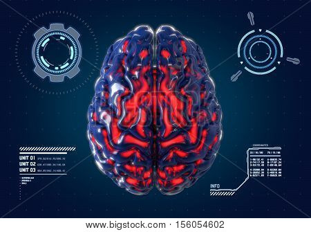 Human brain with futuristic hud interface background. Concept 3d render illustration