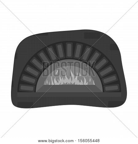 Wood-fired oven icon in monochrome style isolated on white background. Pizza and pizzeria symbol vector illustration.