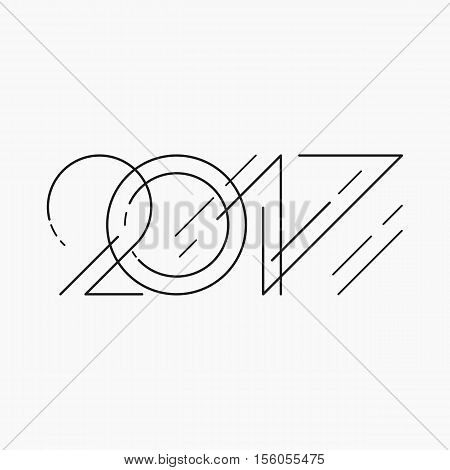 New year sign in outline style. 2017 text on a light background. Stock vector for your design.