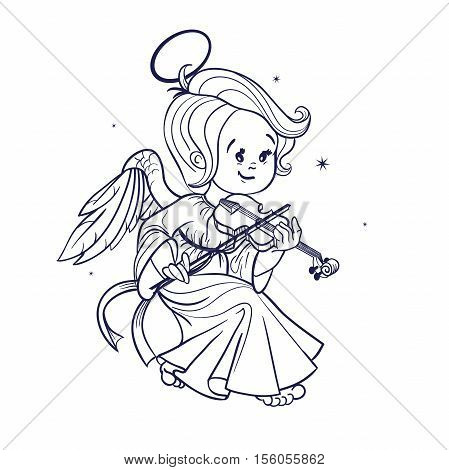 Nicely and happy smiling cute baby Christmas angel making music playing violin. Cartoon style. Ink or etching