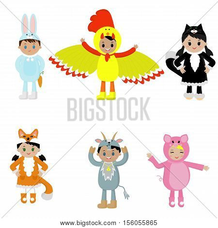 Children, costumes, masquerade ball, holiday, vector, fun, pig, goat, rooster, Fox, say, cat,