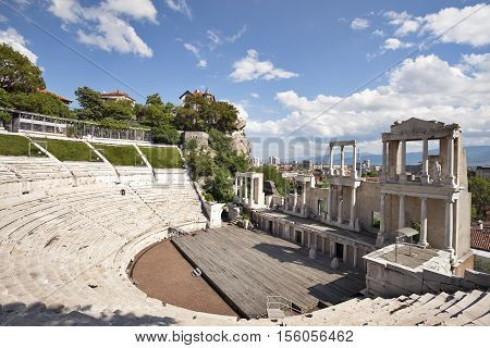 A view of the roman amphitheatre in the old town of Plovdiv, Bulgaria, Europe.