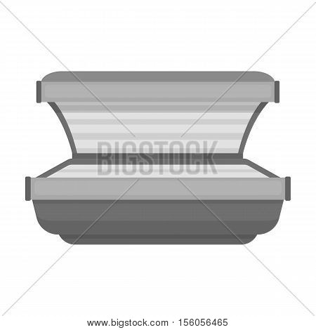 Tanning bed icon in monochrome style isolated on white background. Skin care symbol vector illustration.