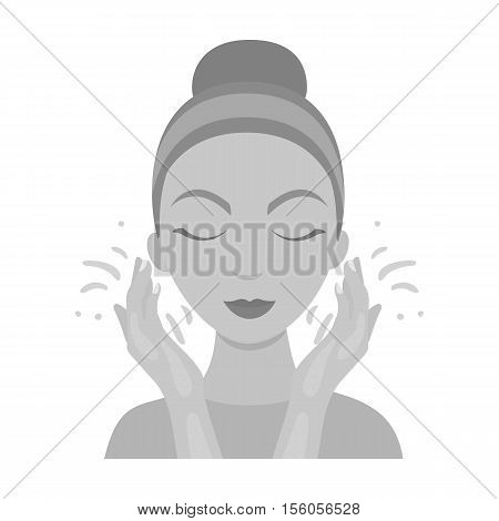 Face washing icon in monochrome style isolated on white background. Skin care symbol vector illustration.