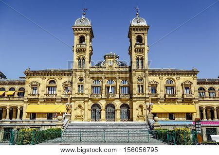 San Sebastian Spain - August 22 2016: City Council in San Sebastian Spain. Its premises are located in the former casino of the city built up in 1887 next to the Bay of La Concha