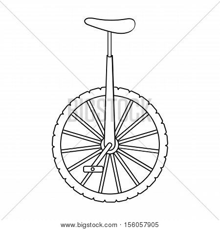 Monocycle icon in outline style isolated on white background. Circus symbol vector illustration.
