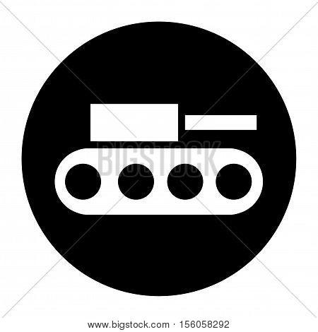 Terrorist Tank Raid Black Icon Vector Button