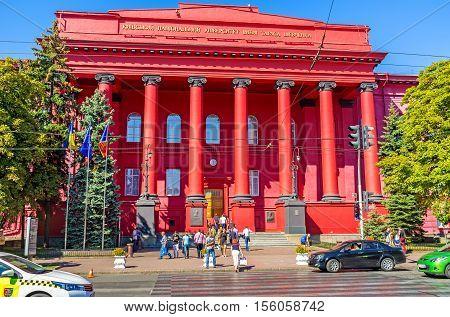KIEV UKRAINE - SEPTEMBER 8 2016: The Taras Shevchenko National University boasts bright red facade and monumental architecture on September 8 in Kiev.
