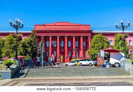 KIEV UKRAINE - SEPTEMBER 8 2016: The view on the main building of Taras Shevchenko National University located in Vladimirskaya street on September 8 in Kiev.