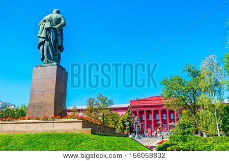 The statue of Taras Shevchenko located in park opposite the main building of National University named after him Kiev Ukraine.