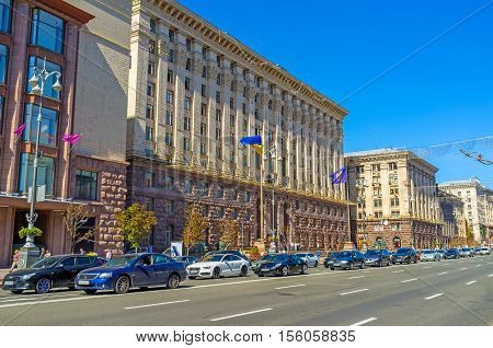KIEV UKRAINE - SEPTEMBER 8 2016: The facade of Kievrada the City Council located in Khreshchatyk Avenue on September 8 in Kiev.