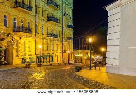 KIEV UKRAINE - SEPTEMBER 11 2016: The Andrew's descent becomes peaceful and quiet street at night on September 11 in Kiev.