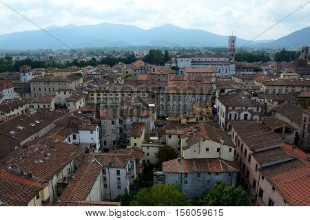 Lucca Italy - September 5 2016: View over old part of Lucca city in Italy.