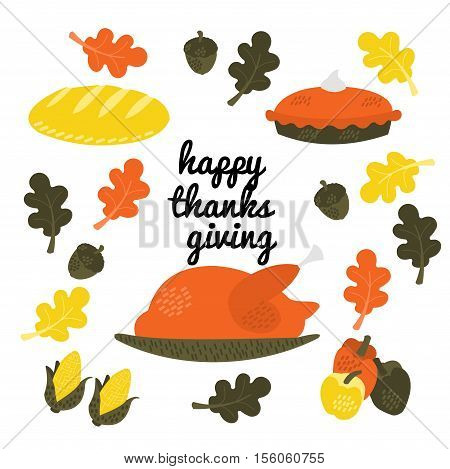 Cute illustration of thanksgiving. Bright, autumn colors!