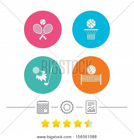Tennis rackets with ball. Basketball basket. Volleyball net with ball. Golf fireball sign. Sport icons. Calendar, cogwheel and report linear icons. Star vote ranking. Vector