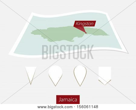 Curved Paper Map Of Jamaica With Capital Kingston On Gray Background. Four Different Map Pin Set.