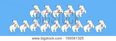 Polar Bear Cartoon Merry Christmas Banner on Blue