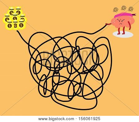 brain cartoon character vector illustration solving a tangled line to get big money (conceptual image about a person try to solve a solution to succeed with stress and frustrated)