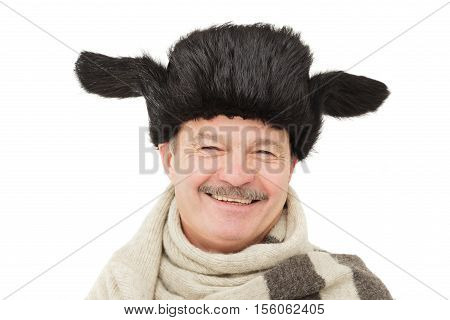 Prepare for cold Russian winter. elderly man in warm fur hat with earflaps.