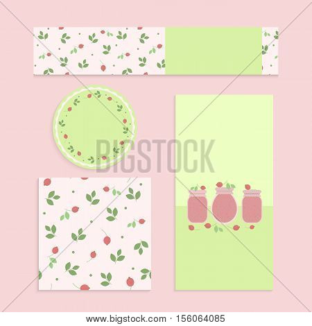 Homemade cranberry jam set. Flyer banner brochure label seamless patterns with cranberries leaves and jars of jam
