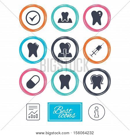 Tooth, dental care icons. Stomatology, syringe and implant signs. Healthy teeth, caries and pills symbols. Report document, information icons. Vector