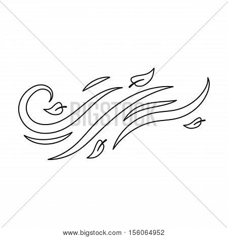 Windy weather icon in outline style isolated on white background. Weather symbol vector illustration.