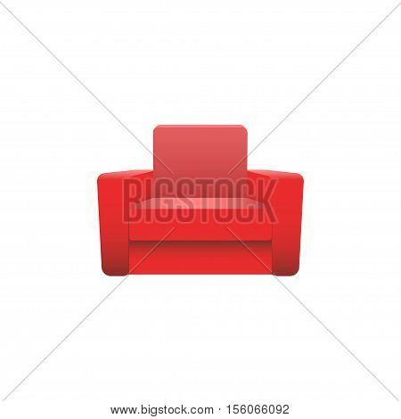Red vector armchair isolated on white background