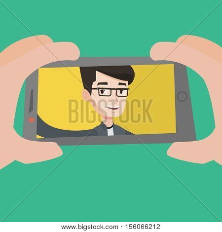 Young joyful caucasian man making selfie. Smiling man taking photo with cellphone. Young guy taking selfie. Man taking selfie using his smartphone. Vector flat design illustration. Square layout.