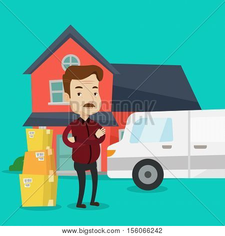 An adult man standing in front of new home. Caucasian homeowner unloading cardboard boxes. Homeowner unpacking removal truck. Man moving to a new house. Vector flat design illustration. Square layout.