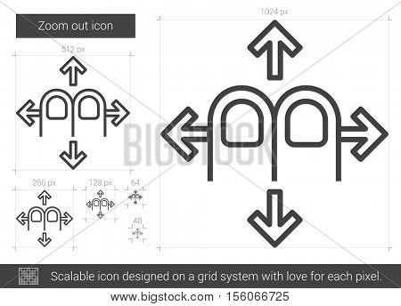 Zoom out vector line icon isolated on white background. Zoom out line icon for infographic, website or app. Scalable icon designed on a grid system.