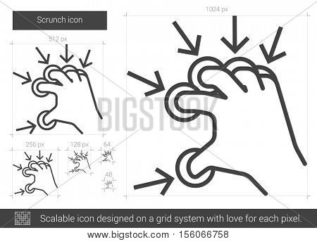 Scrunch vector line icon isolated on white background. Scrunch line icon for infographic, website or app. Scalable icon designed on a grid system.
