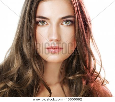Beauty with perfect natural makeup look and long hair poster