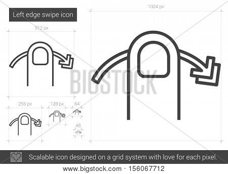 Left edge swipe vector line icon isolated on white background. Left edge swipe line icon for infographic, website or app. Scalable icon designed on a grid system.