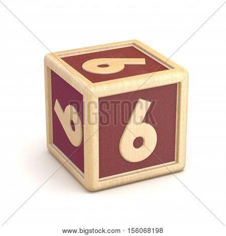 Number 6 Six Wooden Alphabet Blocks Font Rotated. 3D