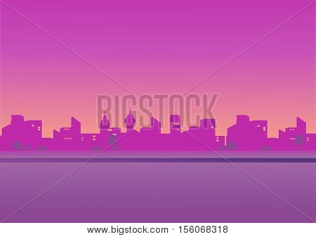 Evening cityscape . vector illustration in a flat design. City landscape in pink tones. Sunset background. City skyline at sunset.