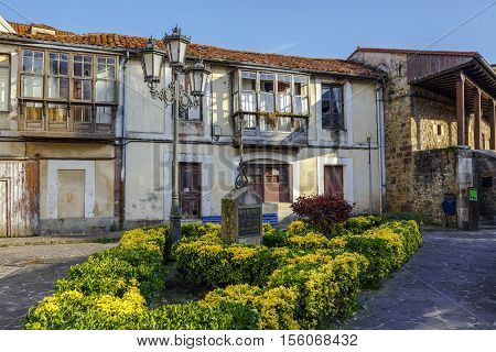 Cabezon De La Sal Spain - August 24 2016: Rincon del Trovador square dedicated to Indalecio Zaballa Zerra known as Masio Trovador mayor of Cantabria