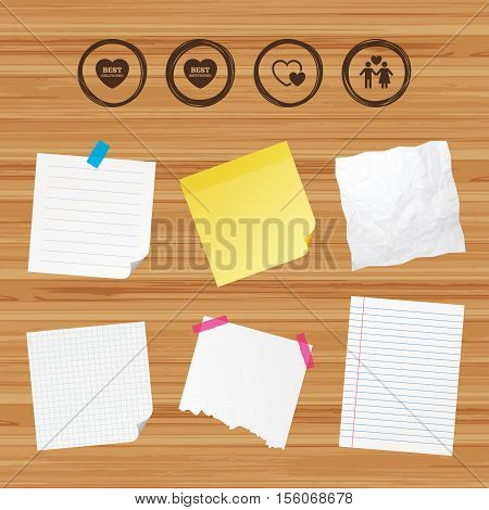 Business paper banners with notes. Valentine day love icons. Best girlfriend and boyfriend symbol. Couple lovers sign. Sticky colorful tape. Vector