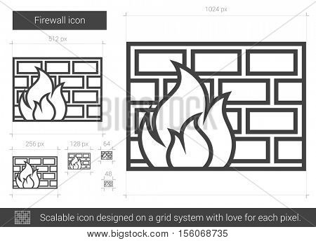 Firewall vector line icon isolated on white background. Firewall line icon for infographic, website or app. Scalable icon designed on a grid system. poster