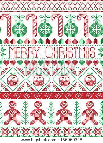 Scandinavian style and Nordic culture inspired Merry Christmas seamless card with  winter pattern including gingerbread man, candy cane, bauble, Christmas Pudding,  in  stitch, in red , green , white